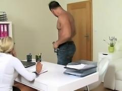 German stud fucks Czech blonde female agent