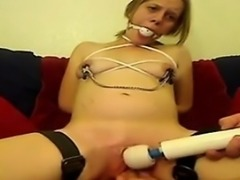 BDSM skank gets her twat played with
