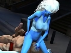 Blue 3D babe gets licked and fucked by Juggernaut