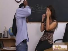 MILF teacher in glasses bangs her hung black student free