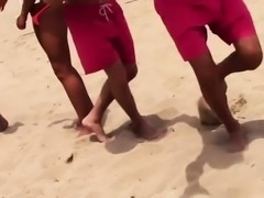 Beach sex with horny blonde teens with their friends