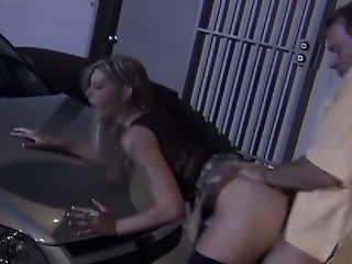 Blonde slut Brooke Banner in sexy black stockings gets her tight wet fuck...