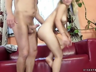 Blonde Gina D lets dude shove his erect ram rod in her mouth
