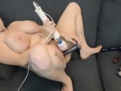BBW with royal blue hair funny toying
