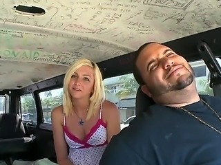 Paris is a cute blonde with natural tits. She is going to show her assets on Bang Bus. She talks to camera man while cruising the streets before having sex fun with hot guy in the back of a van.