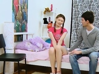 Young darling is pleasuring 2 wild and rough dicks