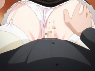 Anime maid jerks cock with her huge boobs