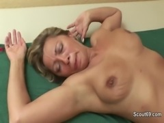 German Mom wake up by young men to fuck hardcore free