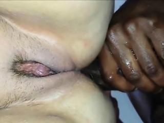 Big black cock fucks a chubby MILF - closeup