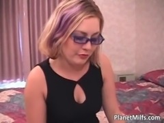 Hot blonde milf with glasses sucks cock free
