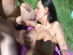 German Milf with Monster Tits get outdoor fucked by two boys free