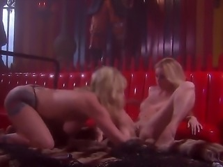 Two hot blondes are two petite chicks and theyve got themselves a huge dildo....