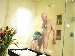Busty masseuse sucking