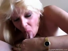 Super sexy blonde MILF in suspenders enjoys a sticky facial cumshot free