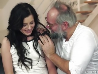"""Pretty brunette Daniella Rose sucks on an old mans dick"""