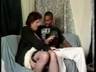 Vintage mature tranny and black dude