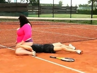 Extra large brunette dominates and facesits her tennis