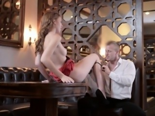 Slim redhead babe Linda Sweet horny anal sex in a restaurant
