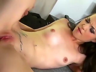 Kristy Black here is a skinny girl with some wide hips and shes going to deep throat that dong of his! Shes going to take it all and shes going to try and fit balls in there too!