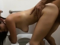 Sexy flight attendant pounded by pawn dude at the toilet