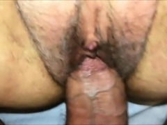 Amateur muff with lots of pubic hair creampie