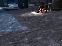 3D babe sucks and fucks outdoors with Deadpool