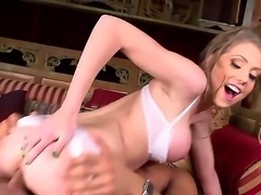 Lovely babe Shawna Lenee in white lingerie gets her tight shaved pussy fucked...