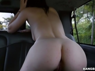 Incredibly cute Canadaina chick Kacey Quinn with long black hair goes topless and flaunts her nice natural boobs in a car. Then sweet girl with perfect ass pulls her pink panties down. Man loves her body!