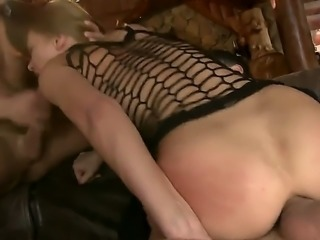 Nasty girl Kery Miller gags on fat cock and  gets her asshole pounded at the same time. Cock hungry anal slut loves getting tag teamed in MMF threesome with two horny studs.