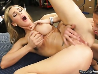 Tanya Tate with juicy jugs and bald pussy gets the fuck of her dreams with hard dicked fuck buddy Bill Bailey