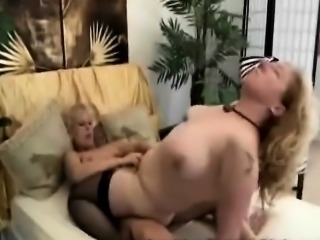 Strapon granny fucks blonde lesbian with her huge fake cock