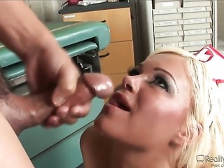 Blow job from a busty nurse