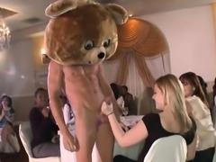 Sexy stripper is letting sexy divas engulf his fun pecker