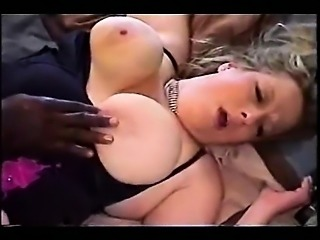 Busty white BBW fucked by a black stallion