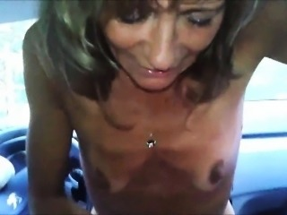 Bony grandma stroking his cock to orgasm