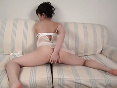 Japanese babe in lingerie with her toys