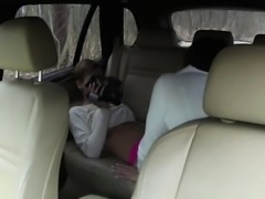 Euro lesbian fingers and licks gf in car