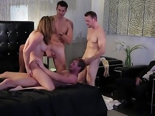 Chanel Preston is with some men and they all want a piece of her at the same time. See her getting an anal gangbang and watch her having a great time.