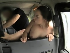 Sexy woman fucks cock in the backseat for a free taxi fare