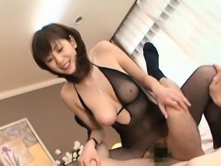 Yuma Asami sucks dong and is nailed by it through crotchless