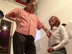 German MILF Seduce to Fuck by Younger Man on Work