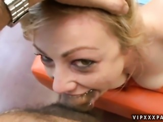 Blonde Adrianna Nicole satisfies her sexual needs alone in solo action
