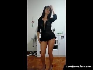 Stunning brunette girl dancing