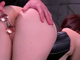 Brunette with a really big ass, Mandy Muse, is in black lingerie, black fishnet stockings and shes going to love this bondage time where theyre putting her arse to the test