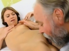 Beautiful young playgirl gets seduced by a horny old fucker