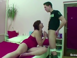stepmom Caught Step son Jerk and helps him with Fuck