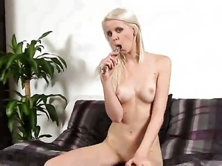 Samantha Heat with small tities and clean pussy touches her twat and melons...