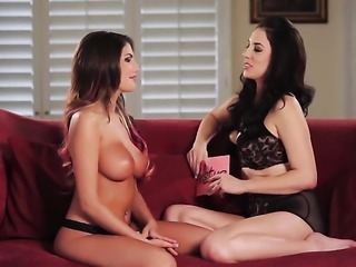 Busty girls are talking to one another