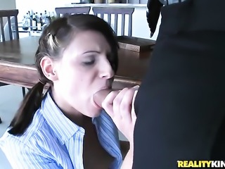 Ramon buries his erect meat stick in horny as hell Kylie Moores mouth