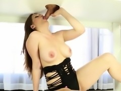 Handjob and exclusive blowjob of massager woman milking cock